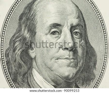 Benjamin Franklin portrait from 100 dollars banknote - stock photo