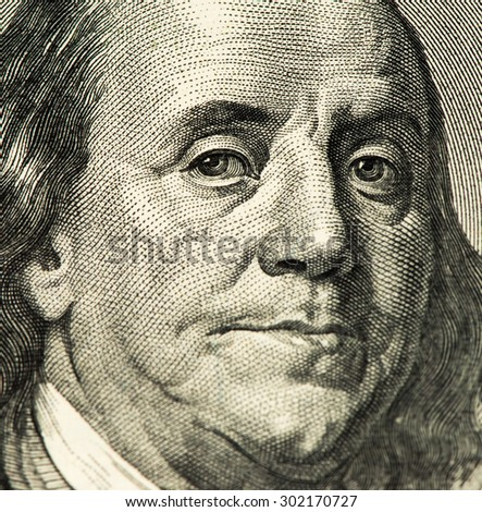 Benjamin Franklin portrait on a 100 US dollars bank note made in 2006