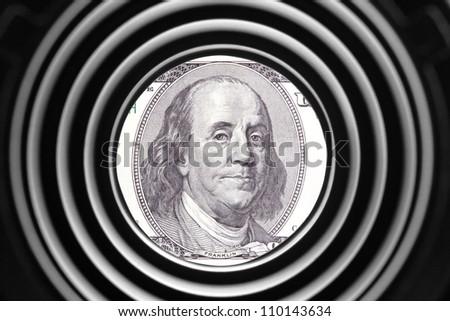 Benjamin Franklin portrait on banknote - stock photo