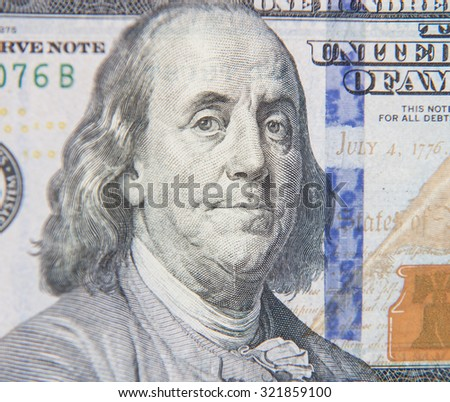 Benjamin Franklin portrait on hundred dollar note