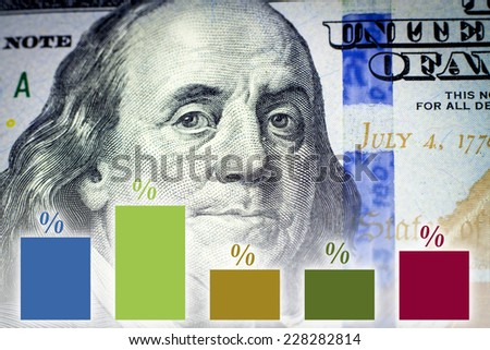 Benjamin Franklin's portrait and financial graph - Financial concept - stock photo