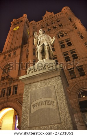 Benjamin Franklin Statue Old Post Office Building Pennsylvania Ave at Night with Stars Washington DC - stock photo