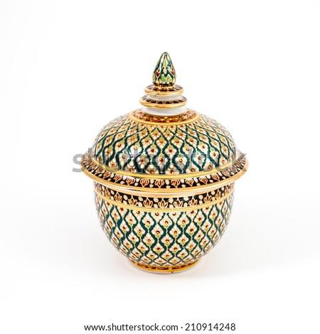 Benjarong porcelain on White background - stock photo