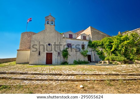 Benkovac historic old stone town fort and chapel, Dalmatia, Croatia - stock photo