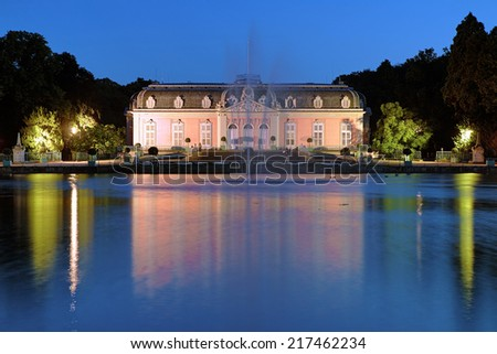 Benrath Palace (Schloss Benrath) in Dusseldorf at evening, Germany - stock photo