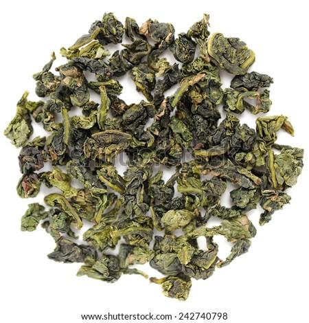 Benshan oolong chinese tea closeup macro isolated - stock photo