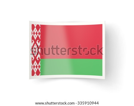 Bent icon with flag of belarus isolated on white