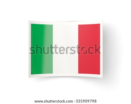 Bent icon with flag of italy isolated on white - stock photo