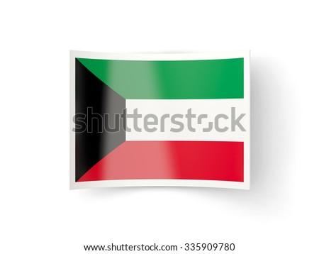 Bent icon with flag of kuwait isolated on white - stock photo
