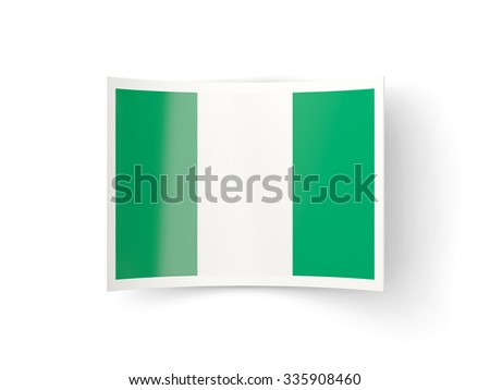 Bent icon with flag of nigeria isolated on white - stock photo