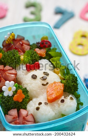 Bento box with school lunch for kids - stock photo