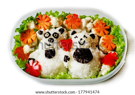 Bento in the form of bears in a box on a white background - stock photo