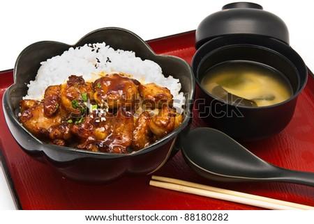 Bento, Japanese food style ,Rice with Chicken Teriyaki set - stock photo