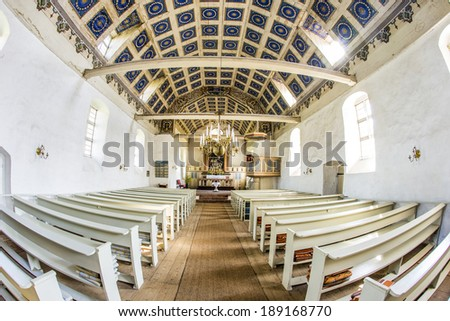 BENZ, GERMANY - APRIL 18: famous small village church on April 18, 2014 in Benz, Germany. The church was a favourite painting subject for Lionel Feininger. Paintings hanging in the MoMa.