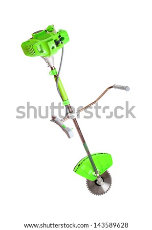Benzotrimmery green color isolated on a white background. ( Weed Trimmer ) - stock photo