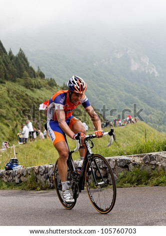 "BEOST,FRANCE-JUL 15:The cyclist Maarten Tjallingii (Rabobank team),climbing the mountain pass Aubisque, in the 13 stage of ""Le Tour de France"" on July 15 2011 in Beost France ."