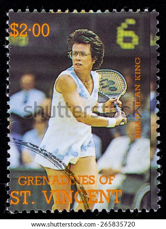 BEQUIA - CIRCA 1988: A stamp printed in Grenadines of St. Vincent shows Tennis Players Billie Jean King, circa 1988 - stock photo