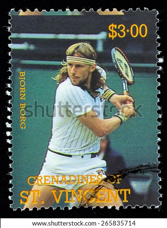 BEQUIA - CIRCA 1988: A stamp printed in Grenadines of St. Vincent shows Tennis Players Bjorn Borg, circa 1988 - stock photo