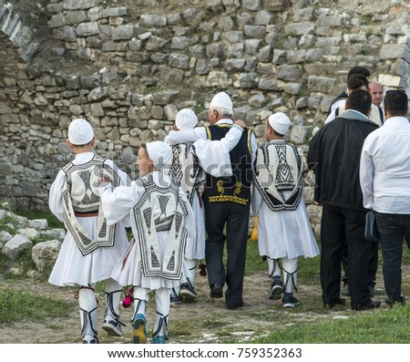 berat albania september 29 2016 kids in a traditional costume in a - Traditional Castle 2016