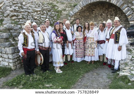 berat albania september 29 2016 people wearing national costume in traditional music - Traditional Castle 2016