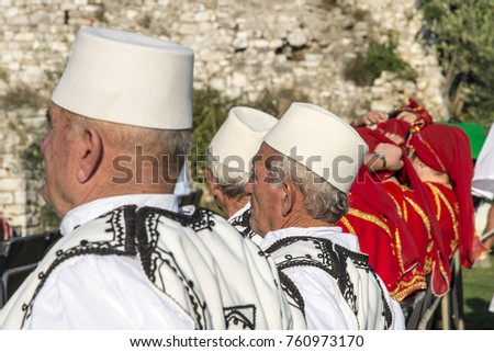 berat albania september 29 2016 people wearing national costume singing in traditional - Traditional Castle 2016