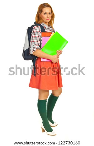 Berauty student woman holding notebooks  isolated on white background