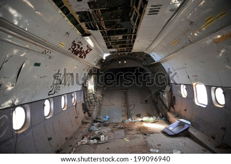 BERBERA, SOMALIA - JANUARY 10, 2010:The plane crashed at the airport of the Berbera. Berbera is a city on the North-West of the state of Somalia, with  sheltered Harbor in the Gulf of Aden
