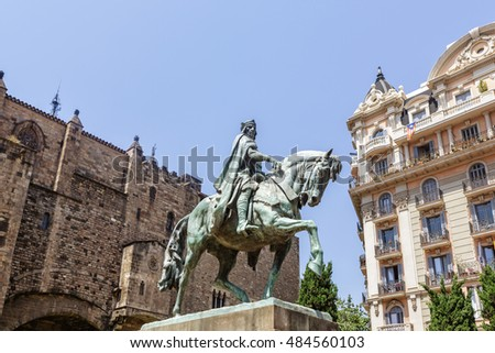 Berenguer III monument located at Via Laietana Avenue in Barcelona, Spain