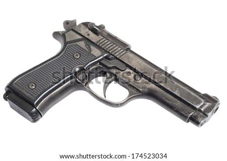 Beretta hand gun isolated on white background - stock photo