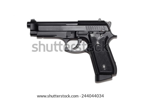 Beretta M9 gun copy isolated on white background.