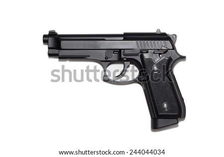 Beretta M9 gun copy isolated on white background. - stock photo