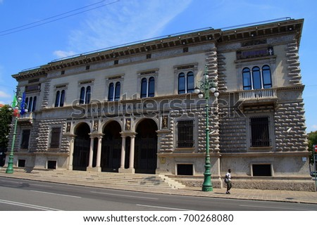 Bergamo, Italia -  August 17, 2017: The Bank of Italy, filiaal Bergamo. The Bank of Italy known in Italian as Banca d'Italia also known as Bankitalia and is the central bank of Italy.