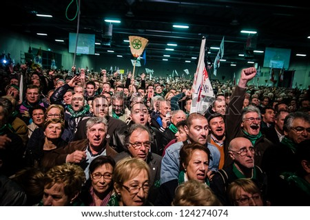 BERGAMO, ITALY - APRIL 14: Lega Nord meeting held in Bergamo April 14, 2012. The Italian right political party Lega Nord, meets with its voters to discuss internal problems and elect new president