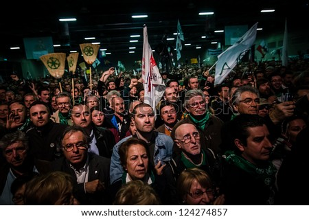 BERGAMO, ITALY - APRIL 14: Lega Nord meeting in Bergamo April 14, 2012. The Italian right political party Lega Nord, meets with its voters to discuss internal problems and elect new president