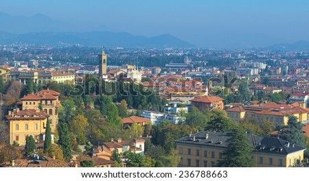 BERGAMO, ITALY, NOVEMBER 2, 2014: View over bergamo city taken from the medieval fortification.