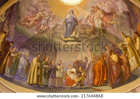 BERGAMO, ITALY - SEPTEMBER 8, 2014: The main apse of church Santa Maria Immacolata delle Grazie with the frosco â��The Proclamation of dogma of Immacolate conceptionâ by Cesare Maironi from 19th century - stock photo