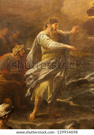 "BERGAMO - JANUARY 26: Moses from paint ""Passaggio del Mar Rosso"" by Luca Giordano. Crossing the Red sea paint form church Santa Maria Maggiore on January 26, 2013, in Bergamo, Italy. - stock photo"