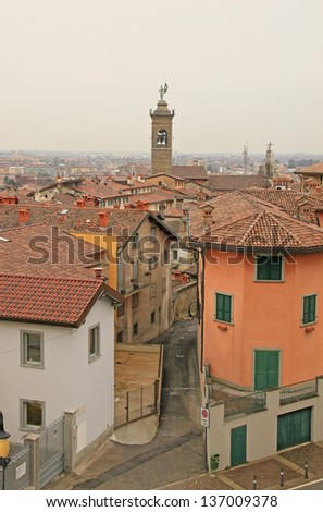 Bergamo, view from city hall tower, Lombardy, Italy - stock photo