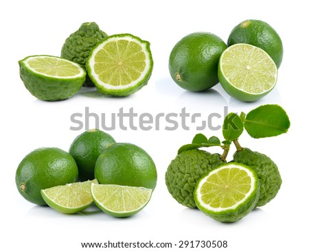 Bergamot fruit and lime on a white background