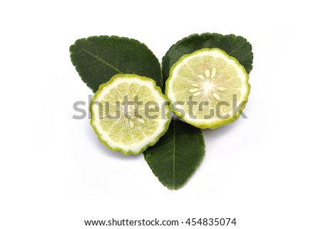 Bergamot fruit (kaffir lime) slice  with leaves isolated on white background. - stock photo