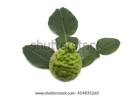 Bergamot fruit (kaffir lime)  with leaves isolated on white background. - stock photo