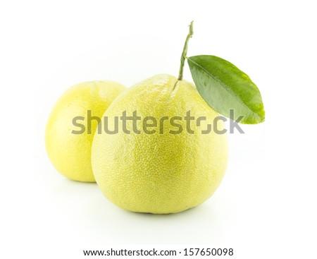 Bergamot oranges on white background - stock photo