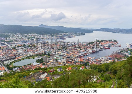 Bergen aerial view from Ulriken, Norway