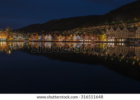 Bergen City, Norway, at Twilight. - stock photo