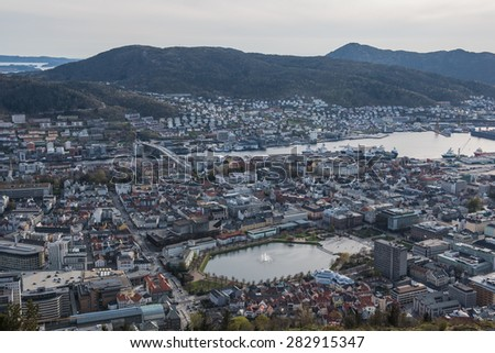 Bergen city, Norway cityscape before sunset time.
