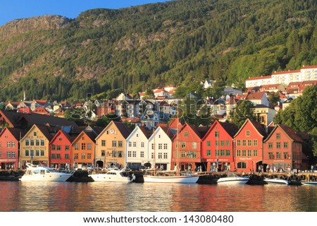 Bergen is a coastal town in the south-western Norway, the second most populous country after the capital Oslo. green city with parks, fountains Peace modern museums galleries - stock photo