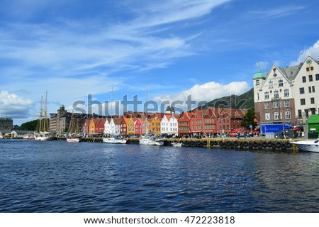 "Bergen, Norway - August 10, 2016: View of ""Old Town"" architecture along the harbor on a rare sunny day in downtown Bergen in 2016 in Bergen, Norway."