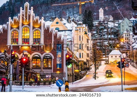 Bergen, Norway - December 27, 2014: evening the streets of Bergen at Christmas, Norway - stock photo
