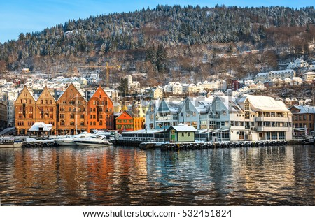 BERGEN,NORWAY - DECEMBER 29: The historical part of the city. Bergen, Norway on December 29, 2014. Scenery of Bryggen in Bergen. UNESCO World Heritage Site.