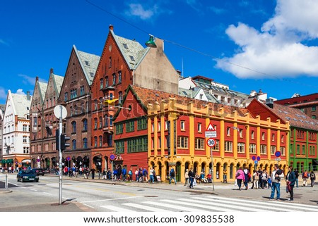 BERGEN, NORWAY - JULY 9: The Bryggen Hanseatic Wharf, a UNESCO World Heritage site with shops, hotels, and restaurants on July 9, 2015, in Bergen, Norway. - stock photo